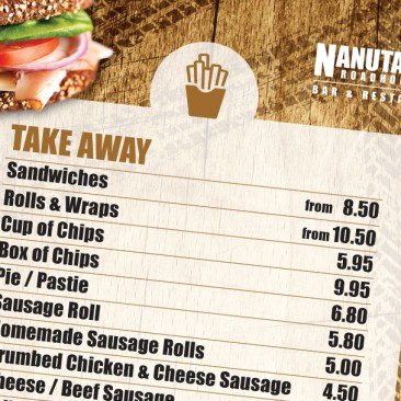 Nanutarra Roadhouse: Take away menu design